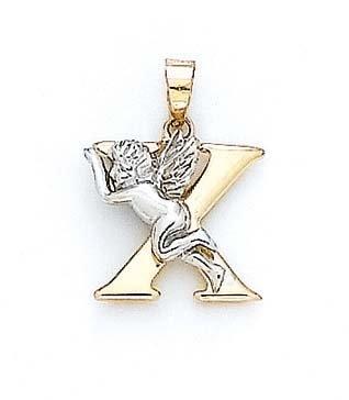 """14 carats Diamant Ange Pendentif initiale X 3/4 """"- JewelryWeb"""
