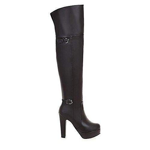 BalaMasa The Platform ABL09752 High Zipper Brown Urethane Solid Womens Heels Boots Above Knee r0HTrq