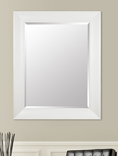 Gallery Solutions Large 39X49 Beveled Wall Mirror with White Wash Frame (For White Mirrors Bathrooms Framed)