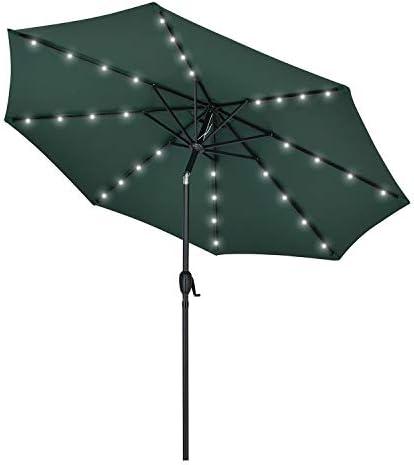 AMTALL 9FT Patio Umbrella 32 Led 8 Ribs Solar Powered Outdoor Umbrella Tilt and Crank Table Umbrella