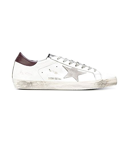 The Golden Goose Mens Superstar Low Top White/Purple Tap/Silver Star Leather Fashion Sneakers G31MS590 C70 (EU41) 60DECa
