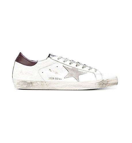 La Golden Goose Mens Superstar Low Top White / Purple Tap / Sneakers Fashion In Pelle Stella Argento G31ms590 C70 (eu41)