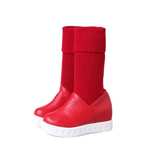 da da da Spesso Neve Donna Fondo Red Interno da Stivali Stivali Stivali Warm Caldi Tacco Piatto w6qp4nx1
