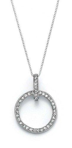 En argent Sterling 925 zircon cubique CZ pendentif en forme de cercle Motif JewelryWeb