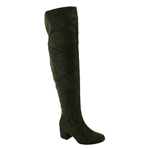 NATURE BREEZE FF00 Women Over The Knee Mid High Block Heel Boots Full Size Small, Color:OLIVE, (Stripper Knee High Boots)