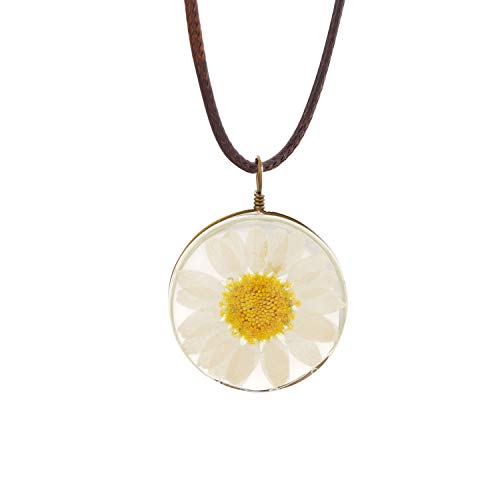 (CHOROY Daisy Flower Necklace Real Dried Flower Necklace Handmade Pressed Flowers Jewelry Gift for Nature Lovers Mori Girl (Daisy Flower Necklace-1) )