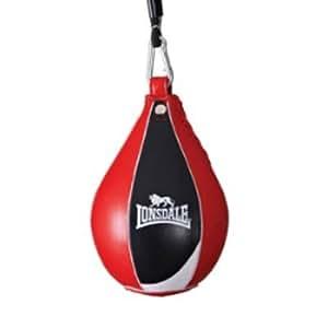 Lonsdale Super Pro cuero saco - negro/rojo/blanco, cm 15,24/22,86 cm
