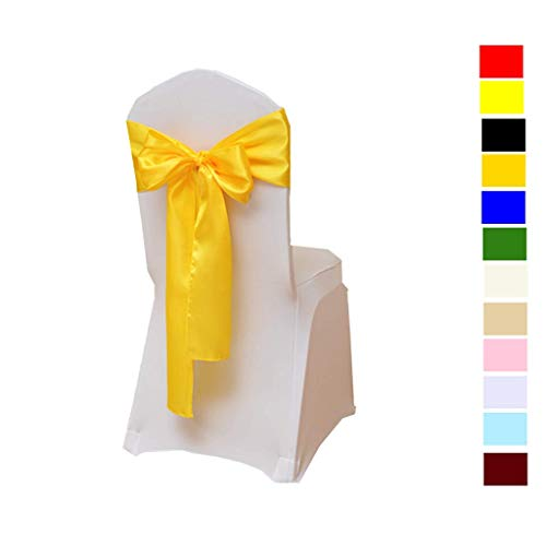 Fvstar 10pcs Yellow Satin Wedding Chair Sashes Bows Party Chair Ribbons Chairs Cover Tie Bands for Bridal Events Supplies Baby Shower Decorations Without White Covers -