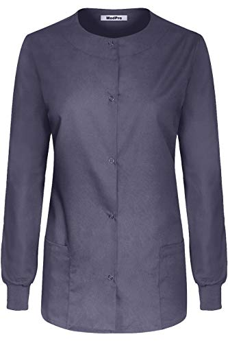 MedPro Women's Medical Scrub Button Down Jacket w/Patch Pocket Charcoal - Soft Jacket Advantage