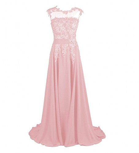 Chiffon Dresses Evening Beauty Long Women's Blush Prom AK Appliques xqanfCwT
