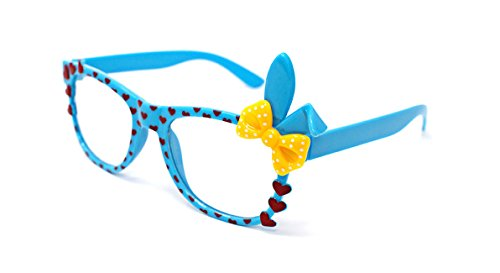 Cheap Costume Ideas Book Characters (Blue with Yellow Bow Cute 3D Multi Color Clear Lens Bunny Heart Bow Frames Perfect for Costumes Parties Glasses Gift Nerds and Hipsters)