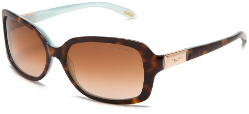 Ralph by Ralph Lauren Women's 0RA5130 601/1358 Rectangle Sunglasses,Tortoise/Turquoise Inside Frame/Brown Gradient Lens,one - Inside Sunglasses