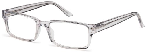 Unisex Rectangular Glasses Frames Prescription Eyeglasses 54-18-145 (Clear, - Rectangular Frames