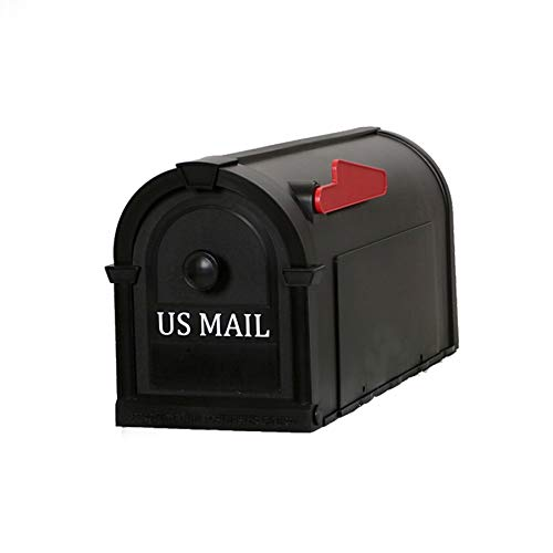 Postal Pro Hampton 8-in W x 10-in H Plastic Black Post Mount Mailbox
