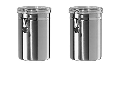 (Oggi 62-Ounce Stainless Steel Canisters with Airtight See Thru Clamp Lids & Silicone Gaskets, Set of 2)