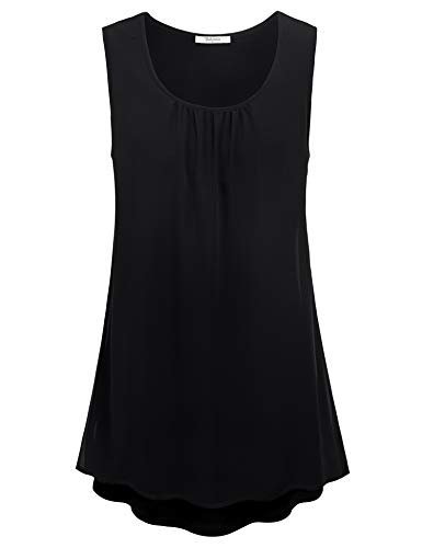 Bebonnie Black Dressy Shirts for Women, Sleevless Tanks for Women Lightweight Double Layers Junior Tunics Tanks Chiffon Summer Office V Neck Shirt Business Blouses for Women Work Black XL