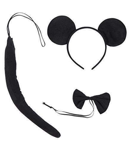Halconia Kid's Animal Ear Headband Bowtie Tail Cartoon Costume Party, Black -