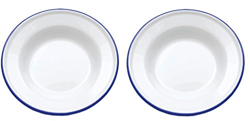 Crow Canyon - Set of 2 Enamelware 8in Raised Salad/Snack Plates (Blue ()