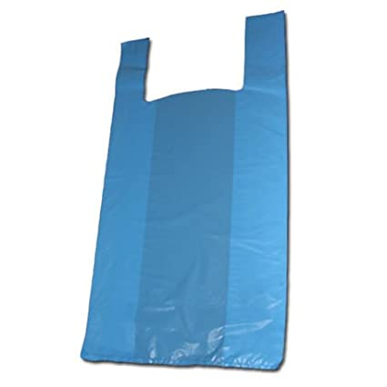 Chiner - Bolsas de Plástico Asa Camiseta Color (Azul)