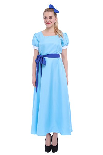 ROLECOS Womens Princess Dress Light Blue Maxi Dresses Halloween Cosplay Costume Blue Belt 12-14