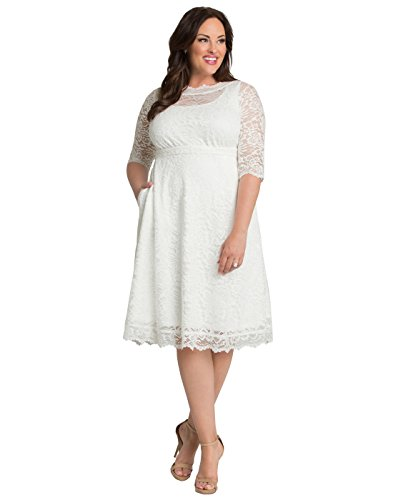 Kiyonna Women's Plus Size Pretty in Lace Wedding Dress Ivory