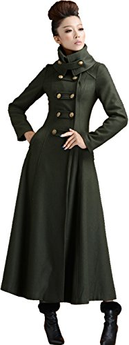 S&S-women Olive Stand Collar Belted Straight Dress Coat Long Military Trench Coat (Small, Green)