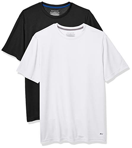 Amazon Essentials Men's 2-Pack Performance Tech T-Shirt, Black/White, Medium