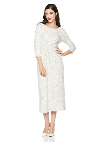 Mariella Bella Women's 3/4 Sleeve Knit Dress With Front Knot Detail Medium Ivory/Indigo - Knot Detail Dress