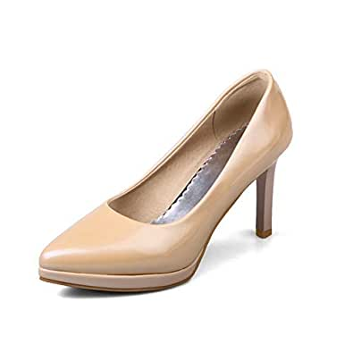 BalaMasa Womens APL12090 Low-Cut Uppers Tuxedo Platform Apricot Leather Stiletto Heels - 2 UK (Lable:33)
