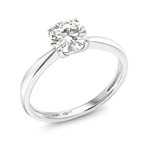 10K White Gold Forever Classic Round Created Moissanite by Charles & Colvard Solitaire Engagement Ring, 0.80 Ct (DEW) For Women (Size 6)
