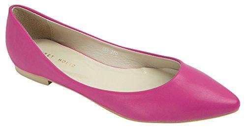 Femmes Dames A Souligné Toe Chaussures Plates Deeppink