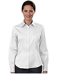 Women Non Iron Pinpoint Oxford Dress Shirts, White, Small