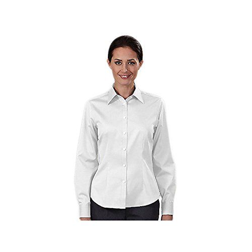 Eagle Women Non Iron Pinpoint Oxford Dress Shirts, White, Small