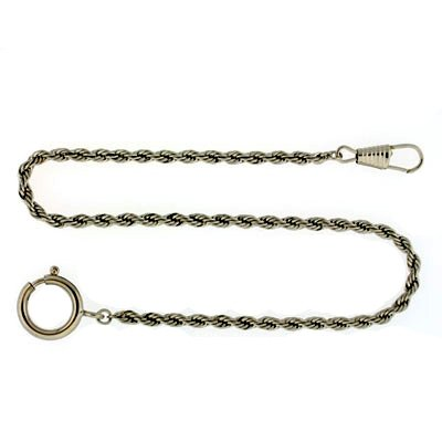 "Paylak PC6-W 14"" Silver-Tone Watch Chain Fob Rope Link Design"