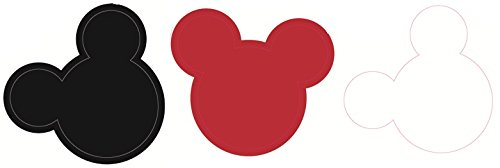 2 Inch MICKEY MOUSE EARS Red White Black Trio Removable Wall Decal Sticker Art Walt Disney Home Decor 1 3/4 inch wide by 1 1/2 inch tall each (Minnie Home Decor)