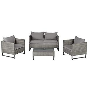 Outsunny 4 PCs PE Rattan Patio Sofa Furniture Set