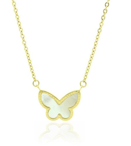 24k Gold Inlay - Chelsea Jewelry Private Collections 24K Yellow Gold Butterfly Inlay with Pearl Pendant. 18 Inches Flat Cable Chain is Provided.