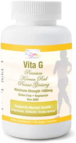 Aura Naturel - Premium Asian Ginseng - 6 Yr Mature Korean Red Panax Ginseng Root Extract – Max Strength 1000mg – for Energy & Mental Focus – Boost Performance in Men & Women – 90 Veggie Caps