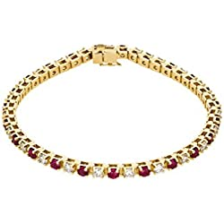 "Ruby and Diamond Bracelet, 14k Yellow Gold, 7.25"" (2.38 Cttw, GH Color, I1 Clarity)"