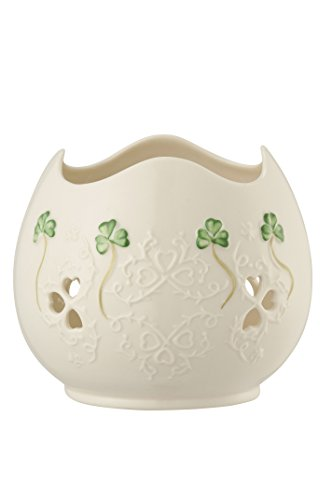 Belleek 4354 Shamrock Lace Pierced Votive, 4.2-Inch, White