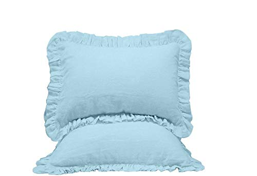 (LuxuriousSheets Premium Collections Set of 2 Ruffle Pillow Shams (Standard 20 x 26, Light Blue) 1800 Series Microfiber Wrinkle & Stain Resistant)