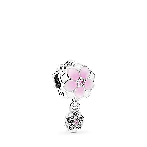 PANDORA Magnolia Bloom Charm, Sterling Silver, Pale Cerise Enamel, Pink & Clear Cubic Zirconia, One Size