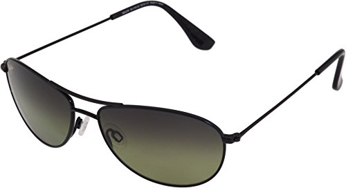 Maui Jim Baby Beach HTS245-02 Polarized Aviator Sunglasses,Gloss Black Frame/Maui Hot Lens,One Size by Maui Jim