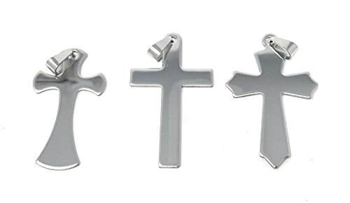 "12 Bulk Polished 2"" Stainless Steel Christian Cross Necklace Pendant (w/o Chain) ()"