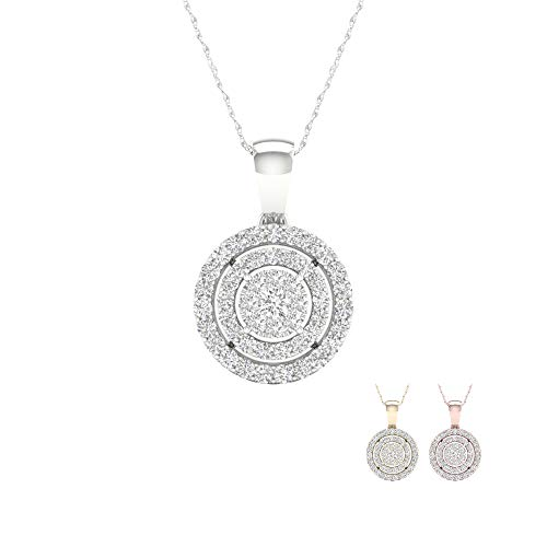 IGI Certified 10K White Gold 1/8Ct TDW Diamond Double Halo Circle Pendant Necklace (I-J,I2)