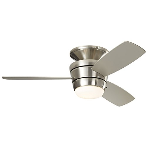 Bright Nickel Pull - Harbor Breeze Mazon 44-in Brushed Nickel Flush Mount Indoor Ceiling Fan with Light Kit and Remote (3-Blade)