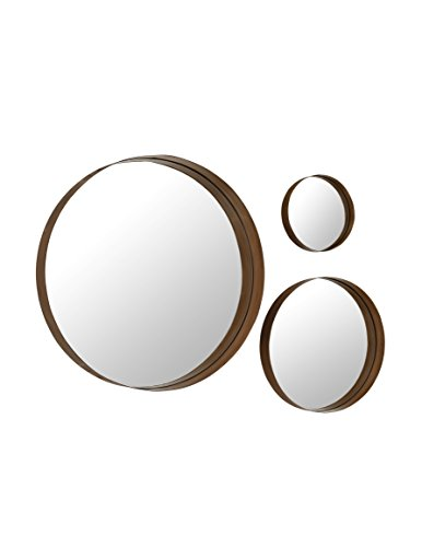 Banded Round Copper Mirrors - Set of - Round Copper Mirror