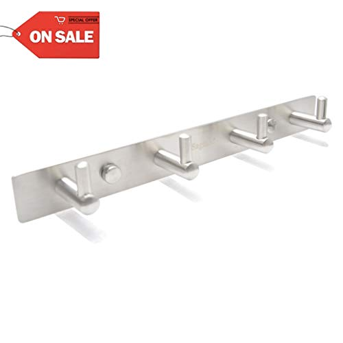 Hook Rail Rack on Wall Mounted - 11 Inch Coat Hooks, Wall Mounted Hangers with 304 Stainless Steel (Brushed Nickel)