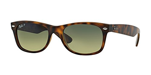 Ray-Ban rb2132 Unisex New Wayfarer Polarized Sunglasses, Matte Havana/Blue-Green, - Havana Ray Ban Wayfarer