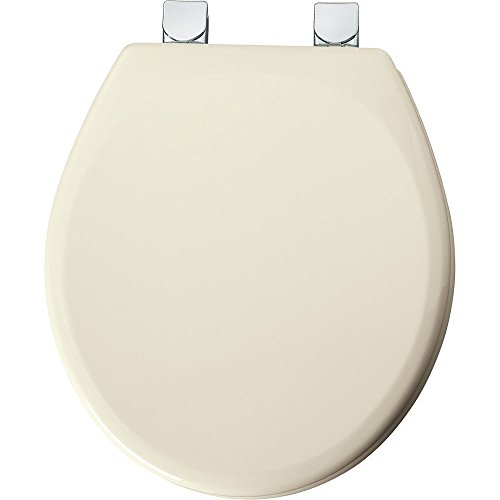 Mayfair Molded Wood Toilet Seat featuring Easy Clean & Change Hinges, STA-TITE Seat Fastening System & Chrome Metal Hinges, Round, Bone, 49CPEC (Tite Fastening System)